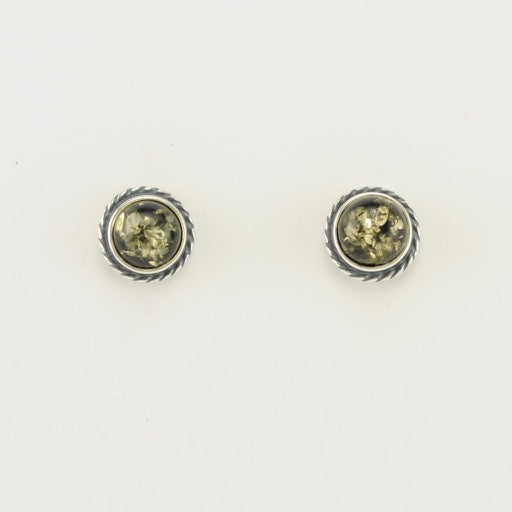 Green Amber Post Earrings