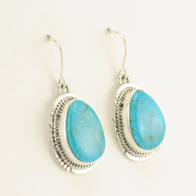 Kingman Turquoise Long Tear Earrings