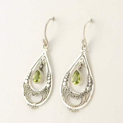 Peridot Filigree Tear Earrings