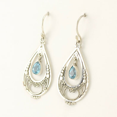 Filigree Topaz Tear Earrings