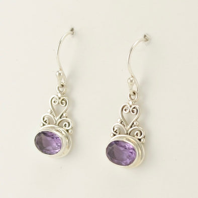 Bali Amethyst Scroll Earrings