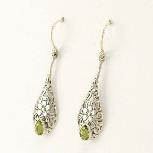 Long Tear Peridot Earrings