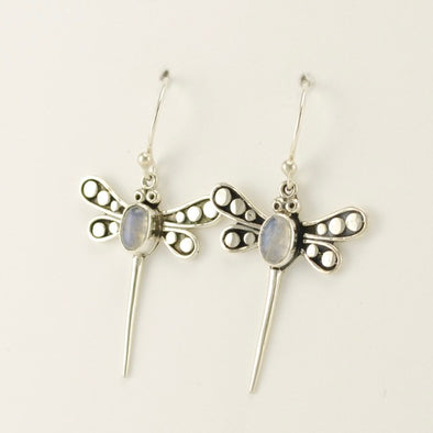 Sterling Silver Bali Dragonfly Earrings with Moonstone