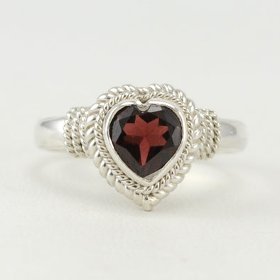 Garnet 7mm Heart Ring