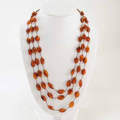 30 Inch 3 Strand Dark Baltic Amber Necklace