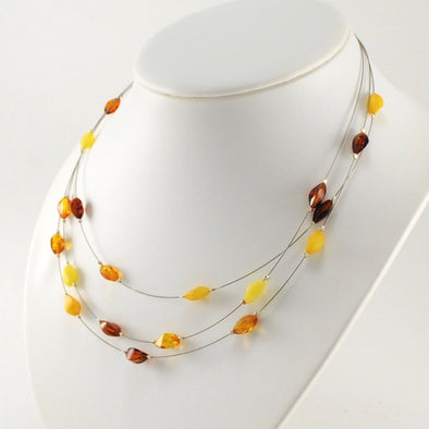 3 Strand Multicolor Baltic Amber Rain Necklace