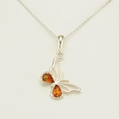 Sterling Silver Baltic Amber Butterfly Necklace