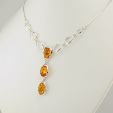 Sterling Silver 3 Oval Baltic Amber Drop Necklace