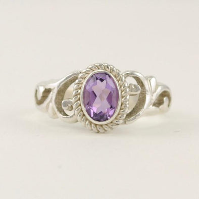 Sterling Silver Amethyst 5x7mm Oval Scroll Ring Size 7