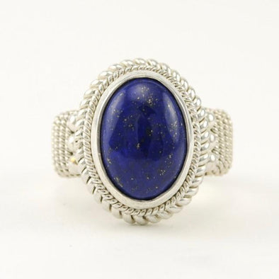 Sterling Silver Lapis 10x13mm Oval Ring Size 8