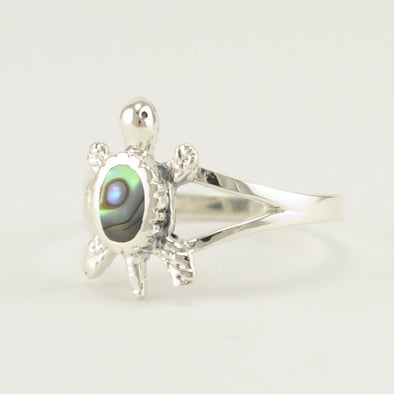 Sterling Silver Abalone Turtle Ring
