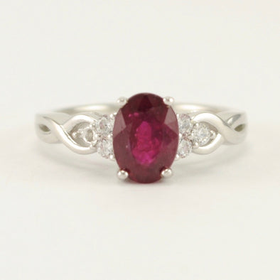Sterling Silver Ruby Oval CZ Ring Size 6