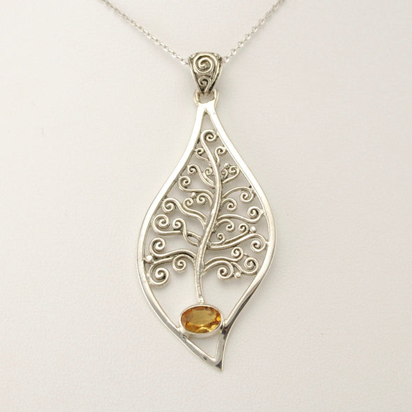 Sterling Silver Citrine Tree Necklace