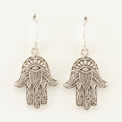 Sterling Silver Hamsa Dangle Earrings