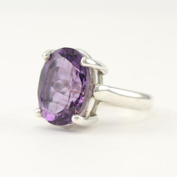 Sterling Silver Amethyst 10x14mm Oval Prong Set Ring Size 6