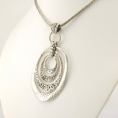 Sterling Silver Bali 4 Oval Pendant