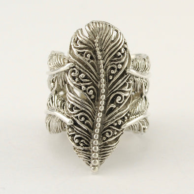 Sterling Silver Bali Filigree Feather Ring