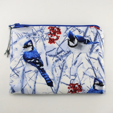 Winter Blue Jay Jewelry Zipper Pouch