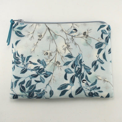 Silvery Chickadee Jewelry Zipper Pouch