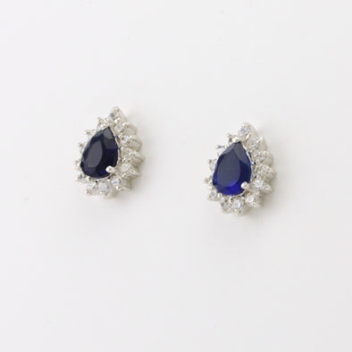 Sterling Silver Sapphire CZ Tear with Accents Tear Earrings