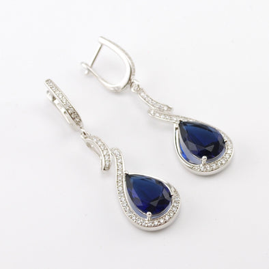 Sterling Silver Sapphire CZ Tear Dangle Earrings