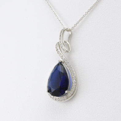 Sterling Silver Sapphire CZ Tear Necklace