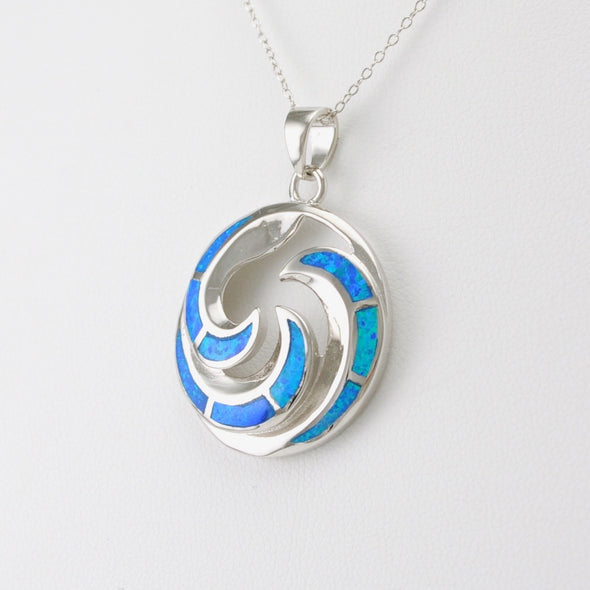 Silver Opal Rounded Waves Necklace