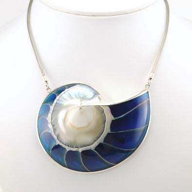 Sterling Silver Blue Nautilus Sideways Necklace