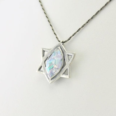 Sterling Silver Roman Glass Marquise Star of David Necklace
