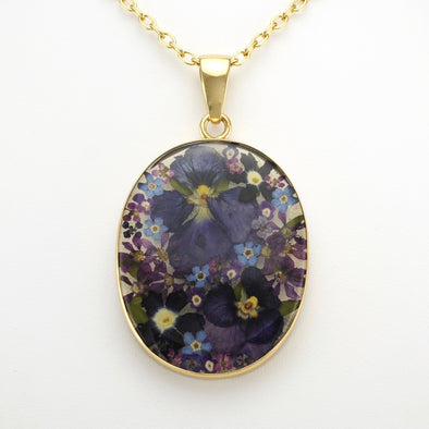 Flower Large Oval Pendant