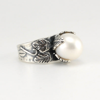 Silver White Pearl Ring