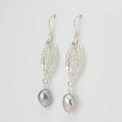 Silver Grey Pearl Drop from Marquise Earring