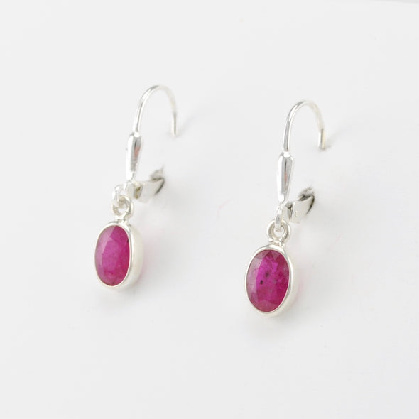 Silver Ruby 5x7mm Oval Dangle Earrings
