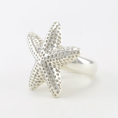 Sterling Silver Starfish Adjustable Ring