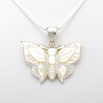 Silver Mother of Pearl Butterfly Pendant