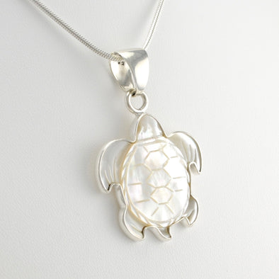 Sterling Silver Mother of Pearl Turtle Pendant