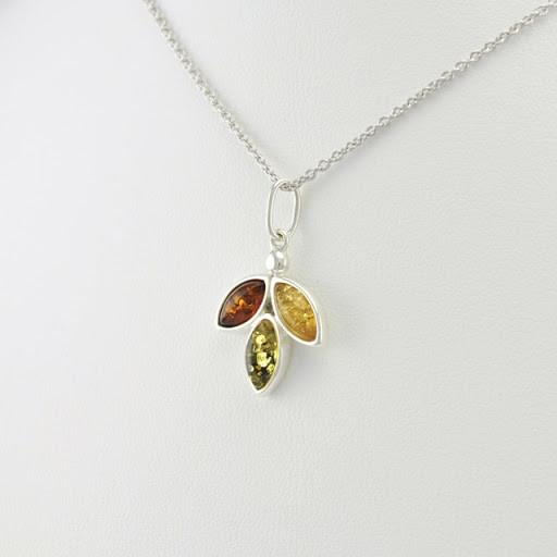 Sterling Silver Baltic Multicolored Amber Necklace