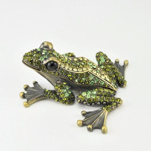Frog with Peridot Green Crystals Box