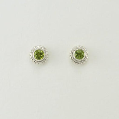 Sterling Silver Peridot 5mm Round Post Earrings