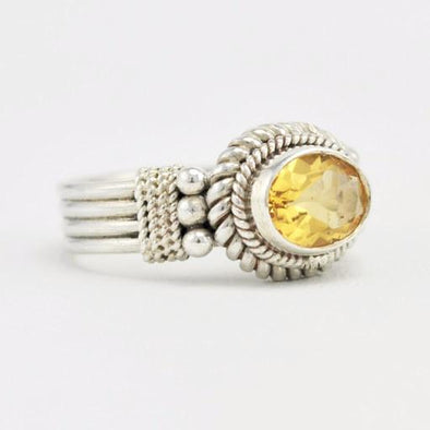 Sterling Silver Citrine 6x8mm Oval Ring