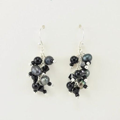 Sterling Silver Black Onyx Pearl and Crystal Dangle Earrings