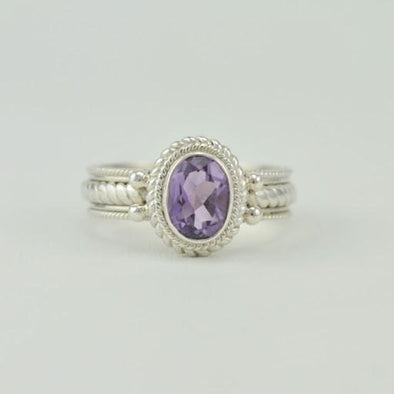 [5445] sterling silver amethyst 6x8mm oval ring size 8
