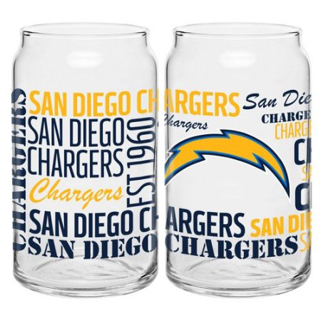Boelter Brands NFL Set of Two 16 Ounce Spirit Glass Can Set, San Diego Chargers