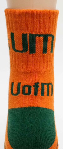 NCAA Miami Hurricanes Orange Quarter Socks
