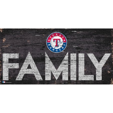 MLB Texas Rangers 6'' x 12'' Distressed Wood Family Sign