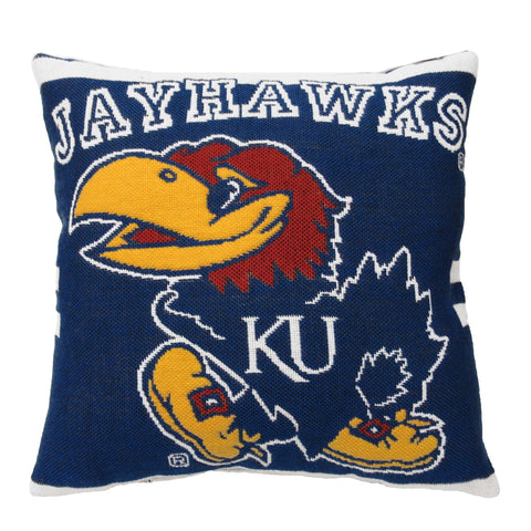 "NCAA Kansas Jayhawks 20"" Square Decorative Woven Pillow"