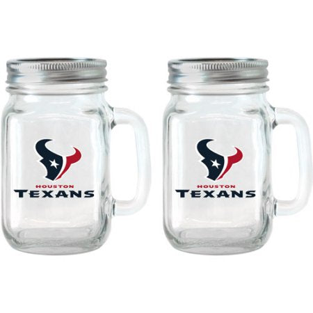 NFL 16 oz Houston Texans Glass Jar with Lid and Handle, 2pk