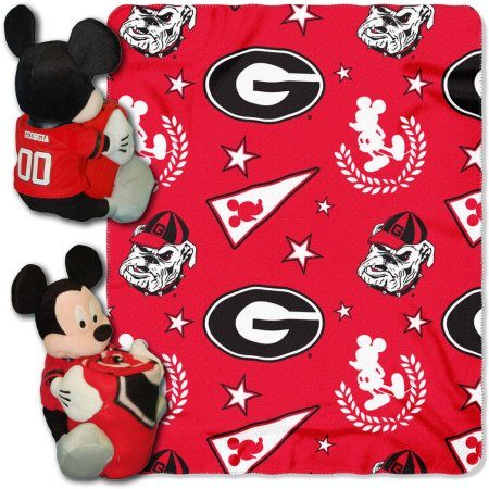 "Disney NCAA Georgia Bulldogs Hugger Pillow and 40"" x 50"" Throw Set"