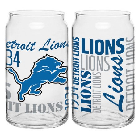 Boelter Brands NFL Set of Two 16 Ounce Spirit Glass Can Set, Detroit Lions