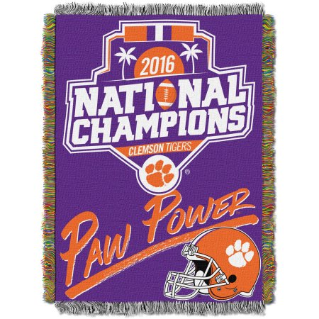 "Official Collegiate Clemson Tigers 2016 National Football Champions 48"" x 60"" Woven Tapestry Throw"